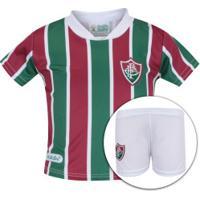 Kit De Uniforme De Futebol Do Fluminense Para Bebê: Camisa + Calção - Infantil - Verde/Vinho