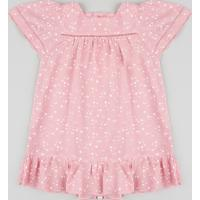 Vestido Infantil Estampado De Estrelas Manga Curta Decote Redondo Rosa