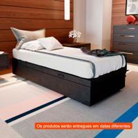 Cama Box Com Baú Premium Com Colchão Solteiro Light Preto E Grafite