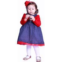 Conjunto Longo Infantil Bolinhas Liminha Doce Azul E Vermelha