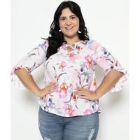 Blusa Floral Com Amarração - Branca & Rosamalwee