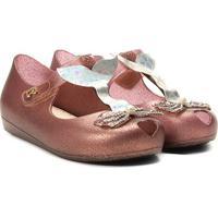 Sandália Infantil World Colors Glitter Aplique Sereia Feminina - Feminino-Bronze