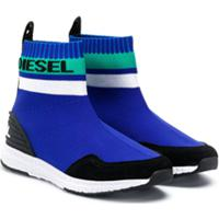 Diesel Kids Tênis Meia Com Lista E Logo - Azul