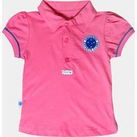 Camisa Polo Cruzeiro Infantil Rosa - Feminino