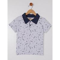 Camisa Polo Sempre Kids Infantil Masculina - Masculino-Cinza