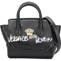 Young Versace Bolsa Tote Medusa De Couro - Preto