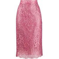 Dolce & Gabbana Saia Lápis Com Renda Floral - Rosa