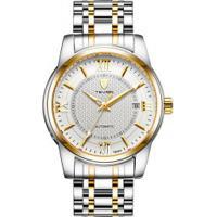 Relógio Tevise T805A Masculino Automático Pulseira De Aço - Branco E Dourado