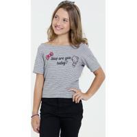 Blusa Juvenil Listrada Estampa Frontal Hello Kitty