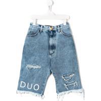 Natasha Zinko Kids Bermuda Jeans Destroyed - Azul