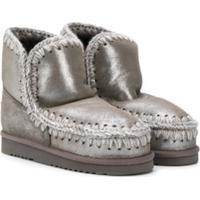 Mou Kids Teen Knitted Trim Eskimo Boots - Cinza