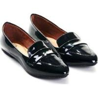 Mocassim Mizzi Shoes Verniz Com Fivela Feminino - Feminino-Preto