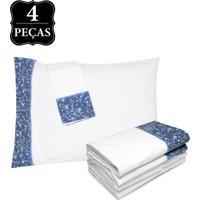 Jogo De Cama Queen Artex 180 Fios Essentials Branco/Azul