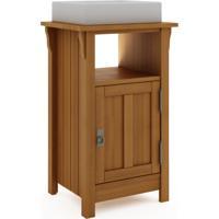 Bancada Pia Rústica Pequena Mission - Gabinete Compacto Para Banheiro De Madeira Cor Jatobá - 53X42X85Cm