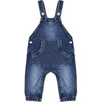 Macacão Infantil Look Jeans Longo Jeans Masculino - Masculino-Azul