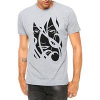 Camiseta Criativa Urbana Face Da Mulher Tribal Manga Curta Cinza Mescla