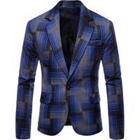 Blazer Masculino Xadrez - Azul Pp