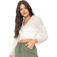 Blusa Colcci Cropped Laise Off-White