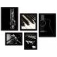 Kit Com 5 Quadros Decorativos - Música Violão Piano - 042Kq01P