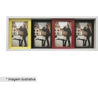 Painel Slide Para 4 Fotos- Branco & Amarelo- 19X50X6Kapos