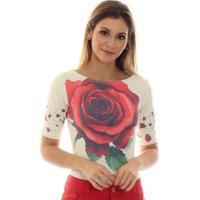 Blusa Ficalinda Meia Manga Proteção Uv Fashion 50+ Feminina - Feminino-Bege+Vermelho