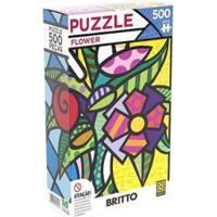 Quebra-Cabeças 500 Peças Paisagem - Puzzles Adultos Flower Romero Britto - Unissex-Colorido