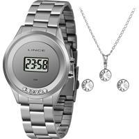 Kit Relógio Digital Lince Feminino + Colar Com Brincos - Sdm4610L Kx87Bxsx Prateado