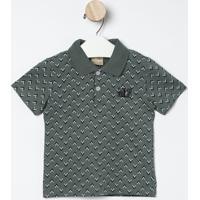 """Polo Geométrica """"Milon®""""- Verde Escuro & Azul Marinhomilon"""