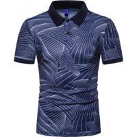 Camisa Polo Join Venture Estampada - Azul P
