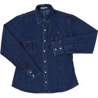 Camisa Jeans Feminina Country E Cia - Feminino-Azul