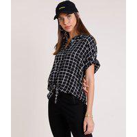 Camisa Feminina Estampada Xadrez Com Bolso E Nó Manga Curta Preto