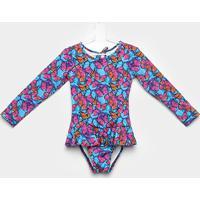 Maiô Infantil Tip Top Borboletas - Feminino-Azul+Pink