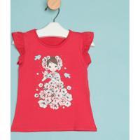 Blusa Floral Com Pedraria - Vermelha & Rosa- Milionmilon
