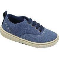 Tênis Jeans Com Recorte - Azul & Azul Marinho- Olivoliver