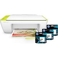 Multifuncional Hp Deskjet Ink Advantage 2136 Com Impressora, Copiadora, Scanner + Cartucho De Tinta Hp Ink Advantage 664 Preto - F6V29Ab