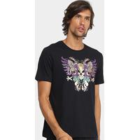 Camiseta Cavalera Águia Caveira Masculina - Masculino-Preto