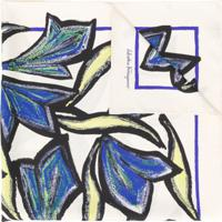 Salvatore Ferragamo Lenço De Seda Com Estampa Floral - Azul