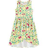 Vestido Floral Com Recortes- Amarelo & Rosa- Kids