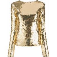 Andamane Blusa Slim Com Paetês - Dourado