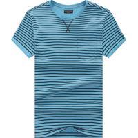 Camiseta Listrada Detail V - Azul Claro