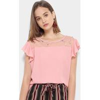 Blusa Chic Up Off Shouder Tule Feminina - Feminino-Rosa