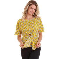 Blusa Kinara Estampada Com Faixa Na Cintura - Feminino-Amarelo
