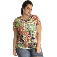 Blusa Konciny Viscose Plus Size Colorida Verde