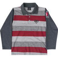Camisa Polo Manga Longa Infantil Cinza