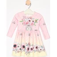 Vestido Floral Com Termocolantes- Rosa Claro & Amarelo Cluluzinha
