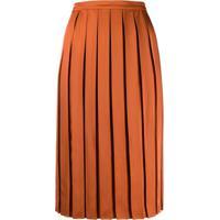 Plan C Pleated Midi Skirt - Laranja