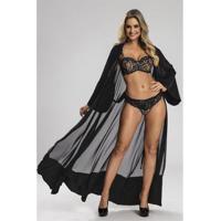 Robe Recco Longo Crepe/Charmeuse Prime - Feminino-Preto