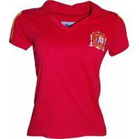 Camisa Liga Retrô Espanha - Feminino-Vermelho