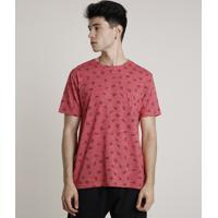 Camiseta Masculina Estampada De Cerveja Manga Curta Gola Careca Vermelha