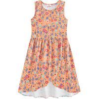 Vestido Floral Com Recortes- Coral & Rosa- Teen-Brandili